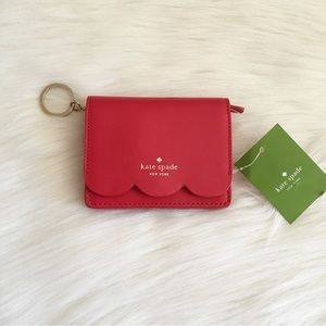 Kate Spade Red Piper Scalloped Small Wallet